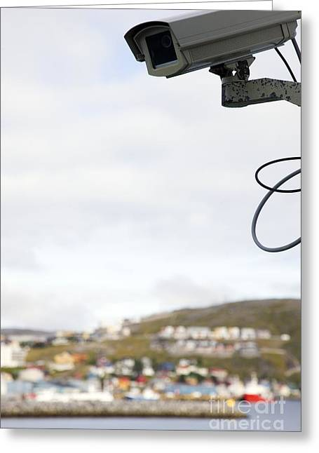21st Greeting Cards - Security Camera Greeting Card by Cristina Pedrazzini