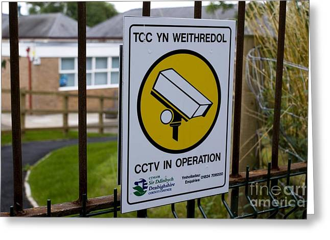 Big Brother Greeting Cards - Security Camera Sign At A School Greeting Card by Mark Williamson