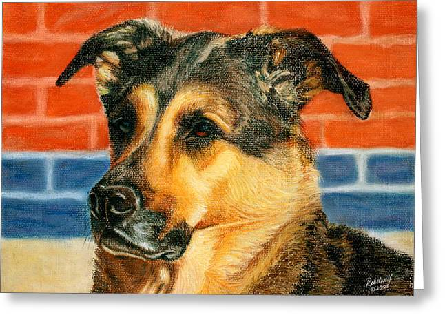 Guard Dog Pastels Greeting Cards - Security Chief Greeting Card by Rebelwolf