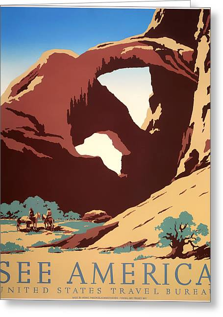 Signed Drawings Greeting Cards - See America 1937 Greeting Card by Mountain Dreams
