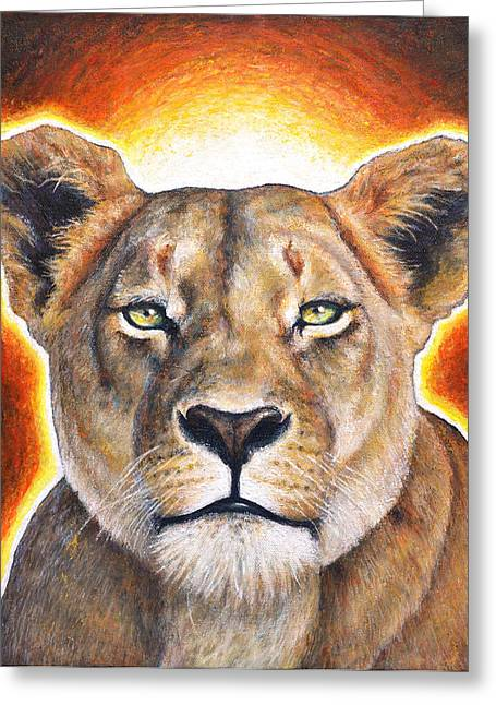 Empowerment Mixed Media Greeting Cards - Sekhmet - Lioness of Courage Greeting Card by Samantha Winstanley