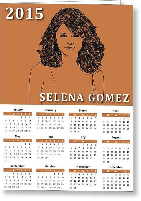 Monthly Calendars Greeting Cards - Selena Gomez 2015 calendar Greeting Card by Stockimage Folio