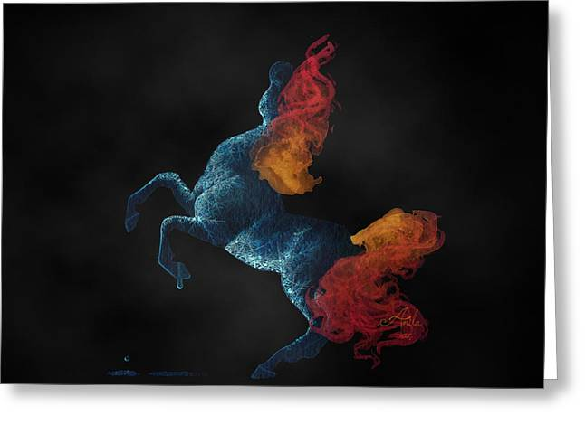 On Fire Mixed Media Greeting Cards - Self Destruction Rearing Fire and Ice Horse Painting Greeting Card by Anila Tac