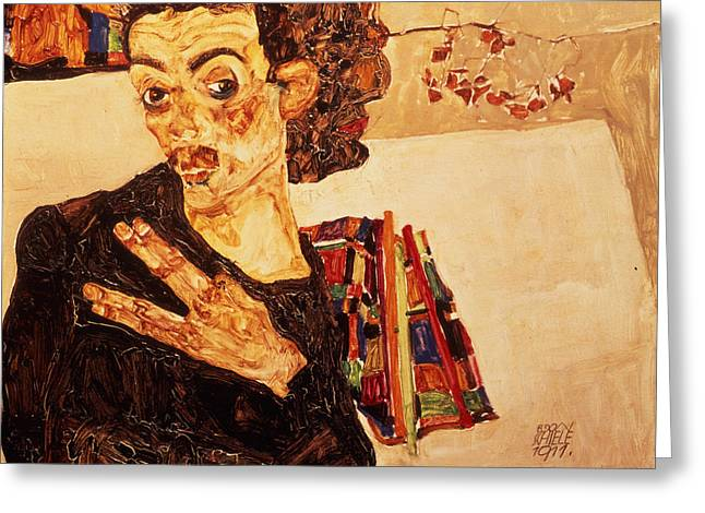 Neo Expressionist Greeting Cards - Self Portrait Greeting Card by Celestial Images