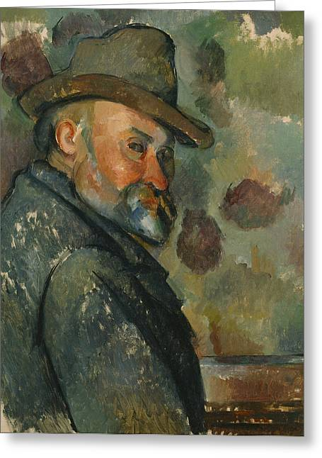 Portrait With Mountain Greeting Cards - Self-Portrait with a Hat Greeting Card by Paul Cezanne