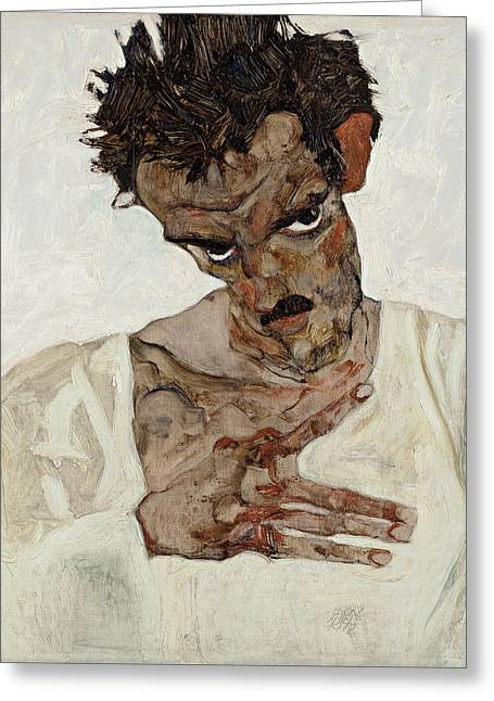 Distortion Paintings Greeting Cards - Self-Portrait with Lowered Head Greeting Card by Celestial Images