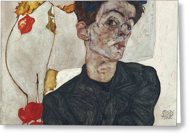 Basquiat Drawings Greeting Cards - Self-Portrait with Physalis Greeting Card by Egon Schiele