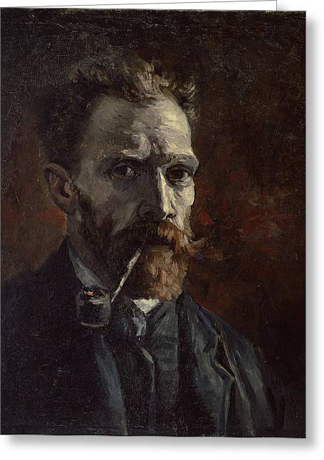 Self-portrait Greeting Cards - Self Portrait With Pipe Greeting Card by Vincent Van Gogh