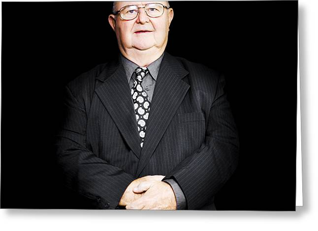 Senior Business Man Isolated On Black Background Greeting Card by Jorgo Photography - Wall Art Gallery