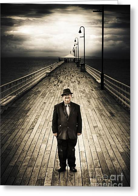 Sea Platform Greeting Cards - Senior Male Standing On A Pier Promenade Greeting Card by Ryan Jorgensen