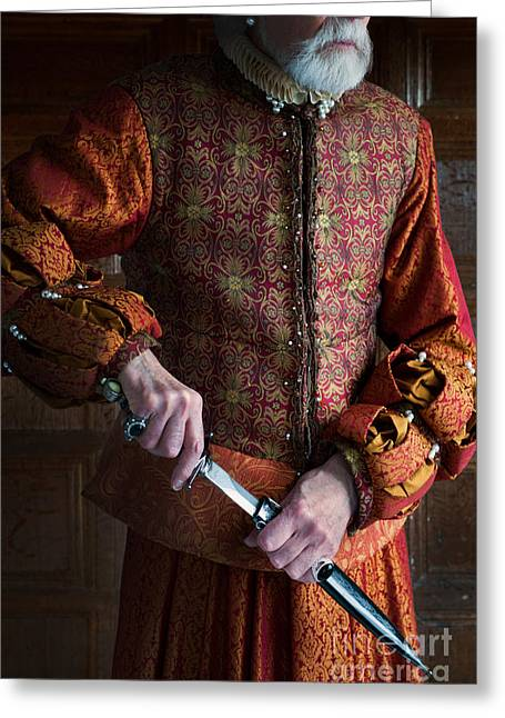 Gold Earrings Greeting Cards - Senior Tudor Man Drawing A Dagger Greeting Card by Lee Avison