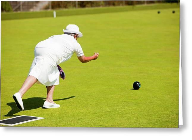 Seniors Playing Bowls At Penzance Greeting Card by Ashley Cooper