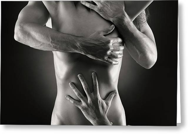 Sensual Photo of Male Hands Embracing a Woman Greeting Card by Oleksiy Maksymenko