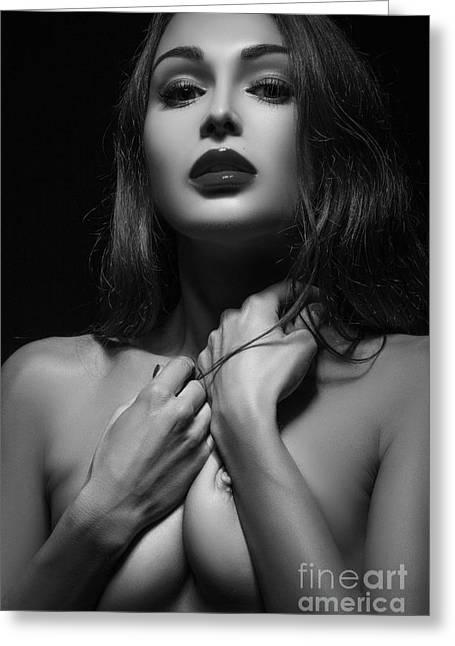 Orgasm Greeting Cards - Sensual Woman Greeting Card by Aleksey Tugolukov