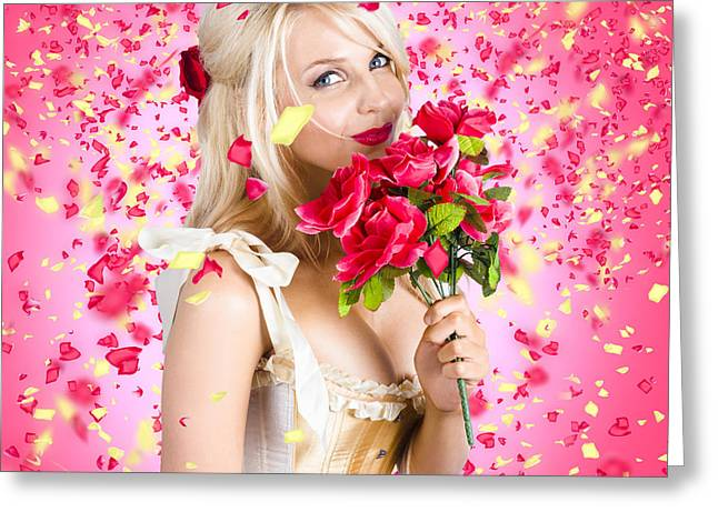 Charismatic Greeting Cards - Sentimental lady with flowers. Falling in love Greeting Card by Ryan Jorgensen
