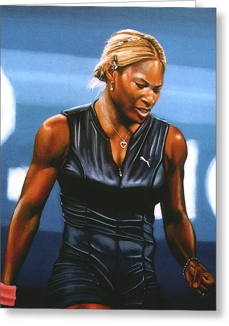 Davis Cup Greeting Cards - Serena Williams Greeting Card by Paul  Meijering
