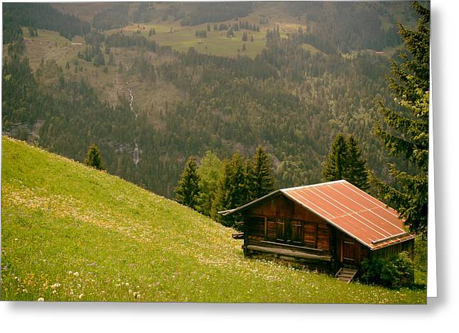 Swiss Photographs Greeting Cards - Serenity IS A Swiss Chalet Greeting Card by Mountain Dreams