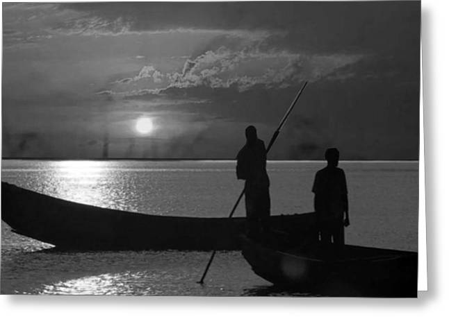 Africa Festival Greeting Cards - Serenity of the nature in Congo 2 boat men calling it a day at the sunset who knew it could be so pe Greeting Card by Navin Joshi