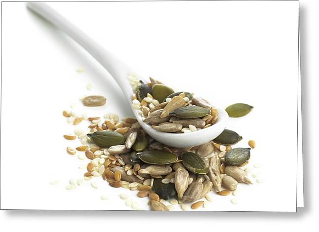 Sesame Seeds And Spoon Greeting Card by Science Photo Library