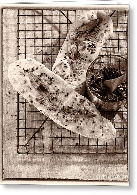 Owner Greeting Cards - Sesameseed and Sage Flatbread Greeting Card by Iris Richardson