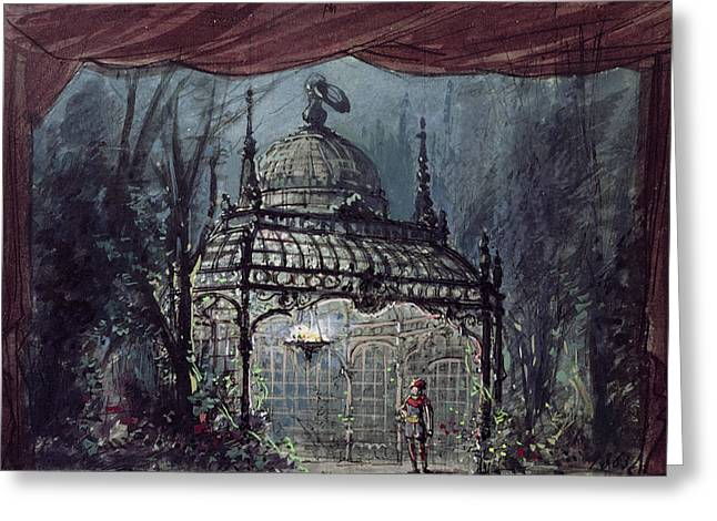 Gazebo Greeting Cards - Set Design For The Magic Flute By Wolfgang Amadeus Mozart 1756-91 Wc On Paper Greeting Card by French School