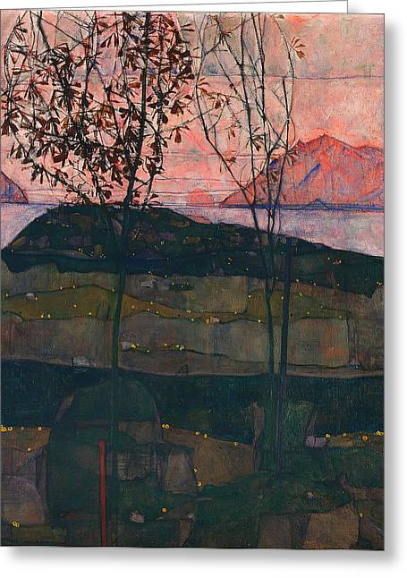 Twilight Drawings Greeting Cards - Setting Sun Greeting Card by Egon Schiele
