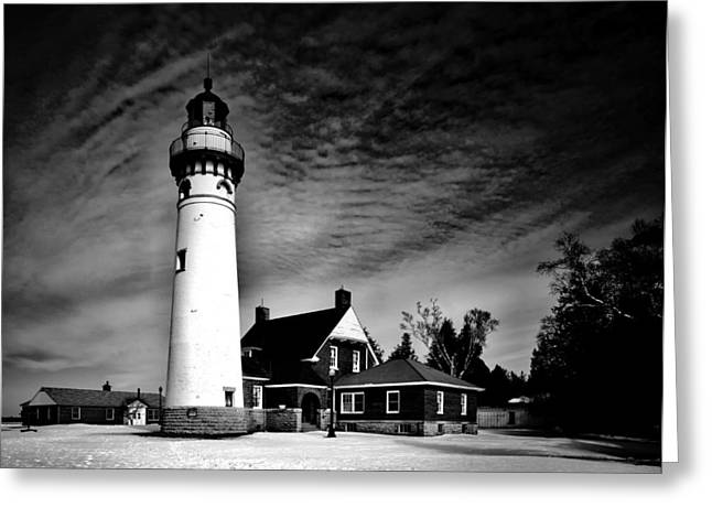 Choix Greeting Cards - Seul Choix Point Lighthouse in Winter Greeting Card by Mountain Dreams