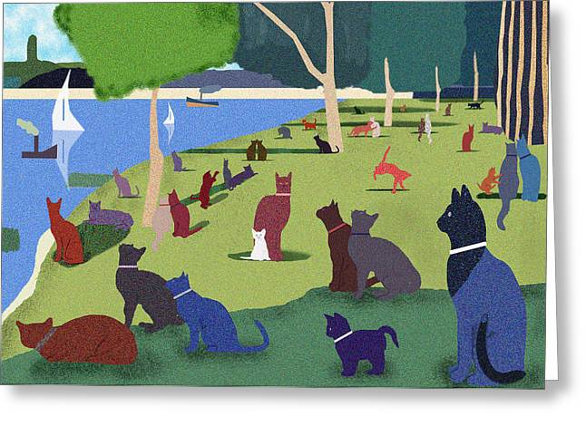 Pointillisme Greeting Cards - Seurats Cats Greeting Card by Clare Higgins
