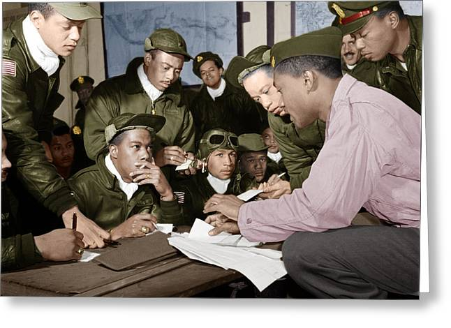 Several Tuskegee Airmen At Ramitelli Greeting Card by Celestial Images