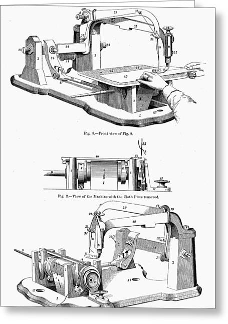 1850s Greeting Cards - SEWING MACHINE, 1850s Greeting Card by Granger