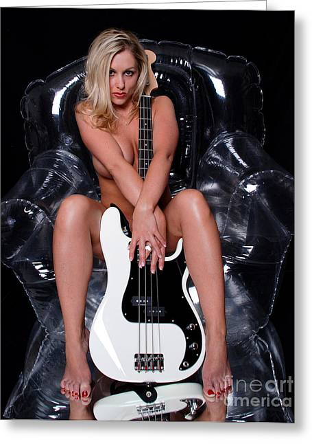 Blonde Nude Greeting Cards - Sexy Guitar Greeting Card by Jt PhotoDesign