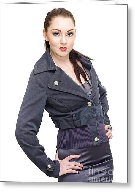Sexy Woman In Business Fashion Striking Model Pose Greeting Card by Jorgo Photography - Wall Art Gallery