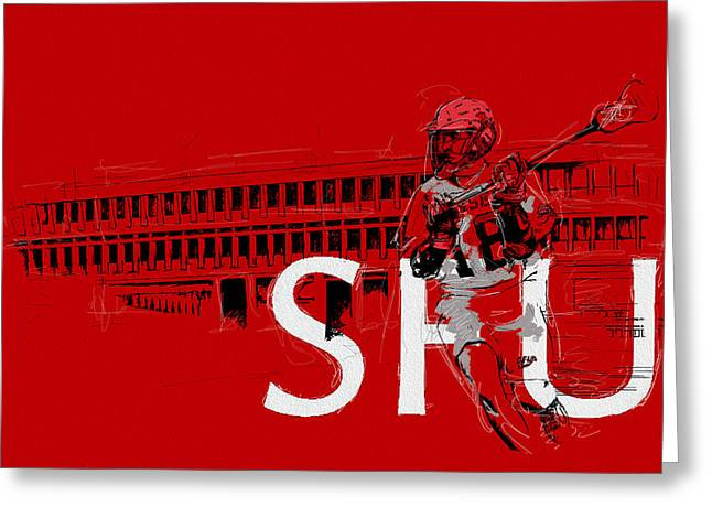 Hockey Paintings Greeting Cards - SFU Art Greeting Card by Catf
