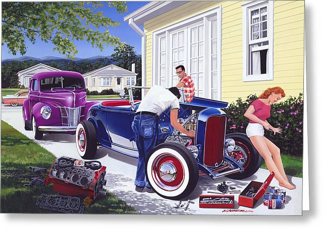 Shade Tree Mechanic Greeting Card by Bruce Kaiser