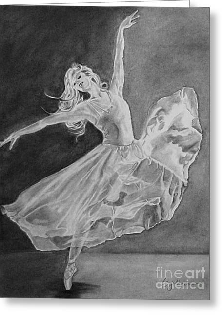 Best Sellers -  - Ballet Dancers Drawings Greeting Cards - Shadow Dancer Greeting Card by Sandra Goldner