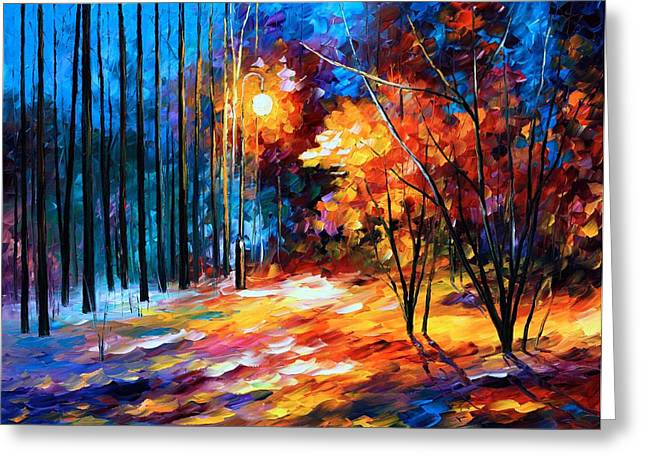 Shadows On Snow Greeting Card by Leonid Afremov