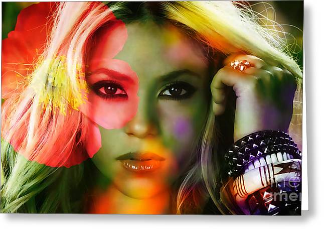 Concert Greeting Cards - Shakira Greeting Card by Marvin Blaine