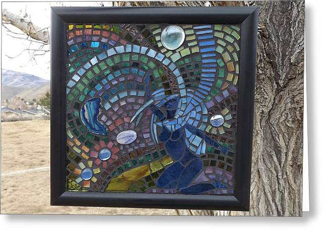 Mosaic Glass Greeting Cards - Shakti Full Piece Image Greeting Card by Wendy Wehe-Ballone