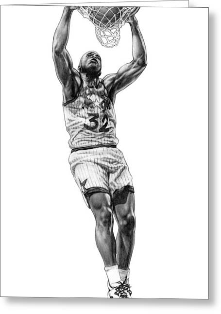 Shaq Greeting Cards - Shaq Slam Greeting Card by Harry West