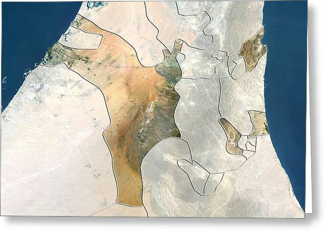 Umm Greeting Cards - Sharjah, UAE, satellite image Greeting Card by Science Photo Library