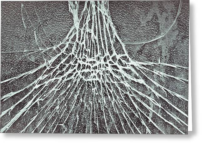 Shatters Greeting Cards - Shattered glass Greeting Card by Tom Gowanlock