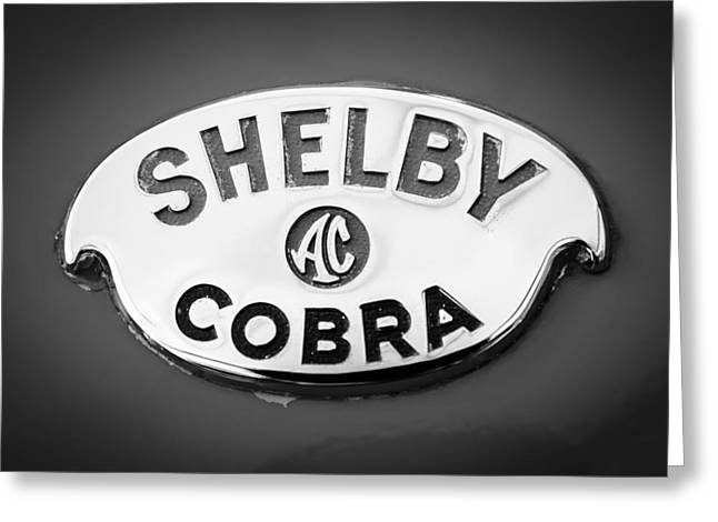 Shelby Greeting Cards - Shelby AC Cobra Emblem -0282bw Greeting Card by Jill Reger