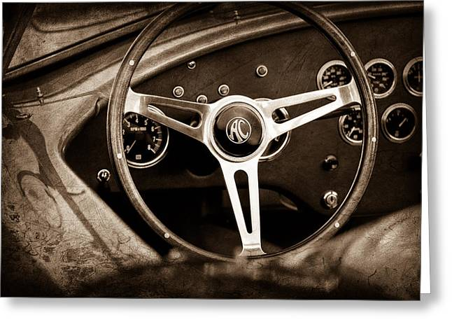 Steering Greeting Cards - Shelby AC Cobra Steering Wheel Emblem Greeting Card by Jill Reger