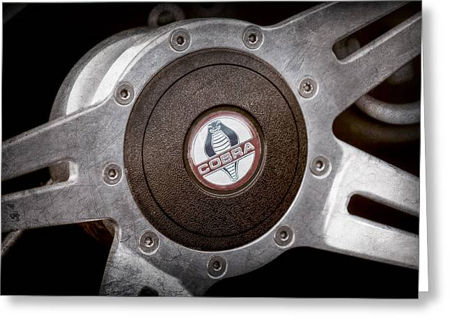 Shelby Greeting Cards - Shelby Cobra Steering Wheel Emblem Greeting Card by Jill Reger