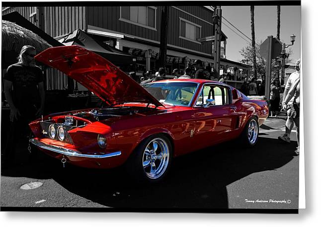 Carol Shelby Greeting Cards - Shelby GT 500 Mustang Greeting Card by Tommy Anderson