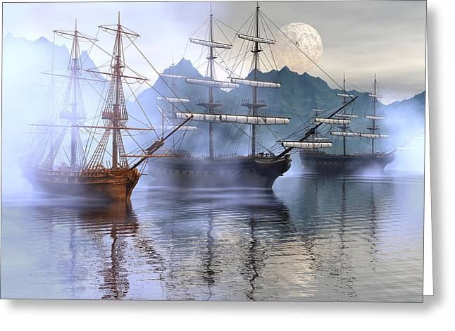 Tall Ship Digital Greeting Cards - Shelter harbor Greeting Card by Claude McCoy