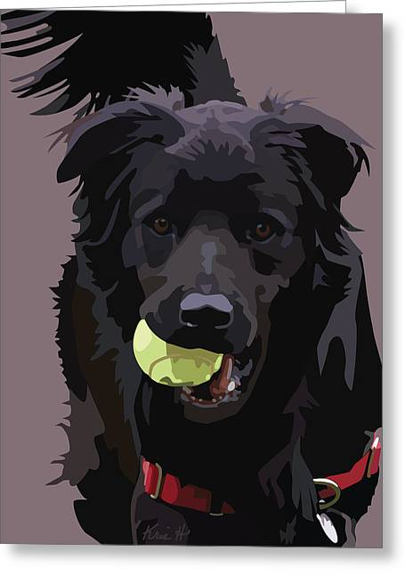 Dog With Tennis Ball Greeting Cards - Sheltered II Greeting Card by Kris Hackleman