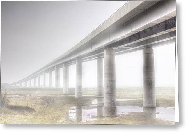 Foggy Bridge Greeting Cards - Sheppey bridge Greeting Card by Ian Hufton