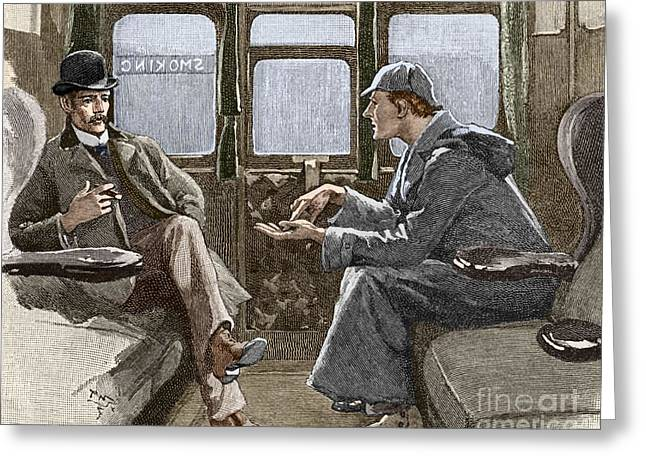 Solving Greeting Cards - Sherlock Holmes And Dr. Watson Greeting Card by Sheila Terry