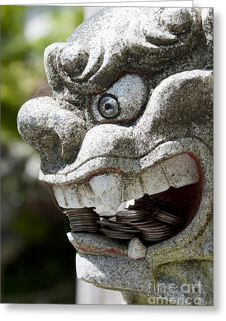 Wishes Greeting Cards - Shinto Shrine Guard Lion Dog Greeting Card by Jim Corwin